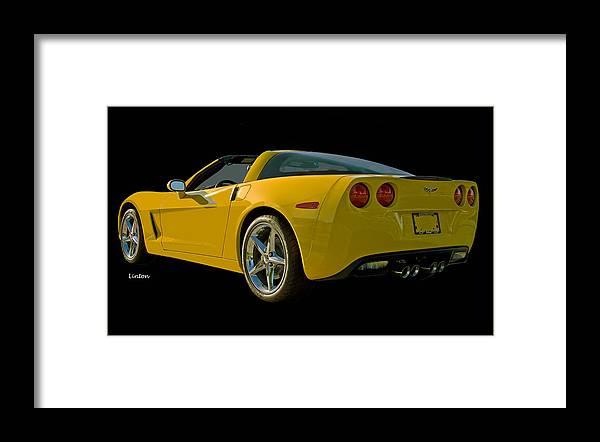 Chevrolet Corvette Framed Print featuring the photograph Yellow Corvette by Larry Linton