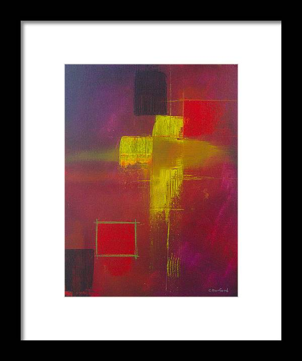 Abstract Framed Print featuring the painting Yellow Cross by Charles Morford