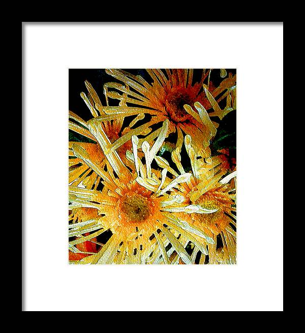 Daisies Framed Print featuring the mixed media Yellow Daisies by Susan Epps Oliver