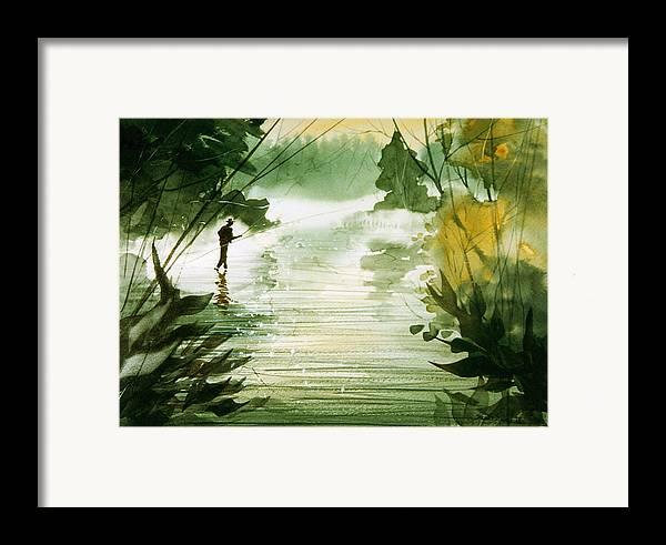 Fisherman Framed Print featuring the painting Yellow Dog River by Sean Seal