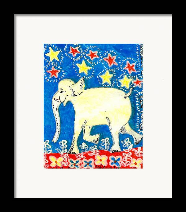 Sue Burgess Framed Print featuring the painting Yellow Elephant Facing Left by Sushila Burgess