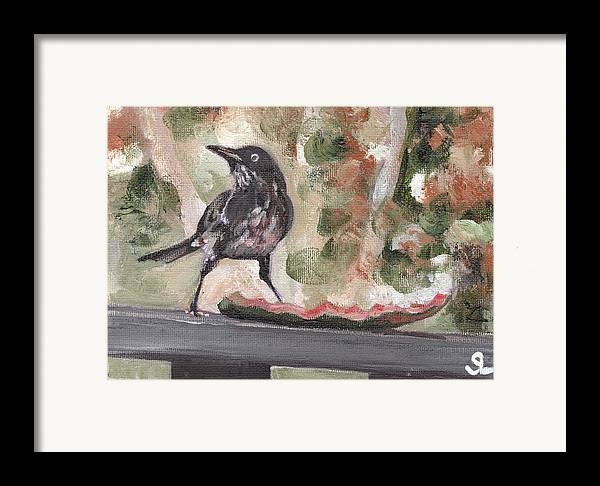 Puerto Rico Framed Print featuring the painting Yellow Eyed Bird by Sarah Lynch