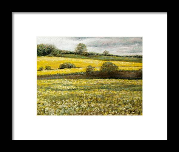 Landscape Framed Print featuring the painting Yellow Fields by Susan Jenkins