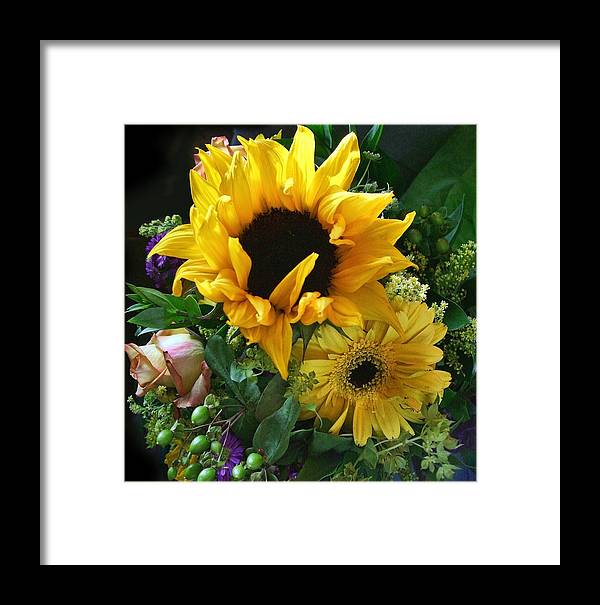 Bouquet Framed Print featuring the photograph Yellow Foral Bouquet by Linda Phelps