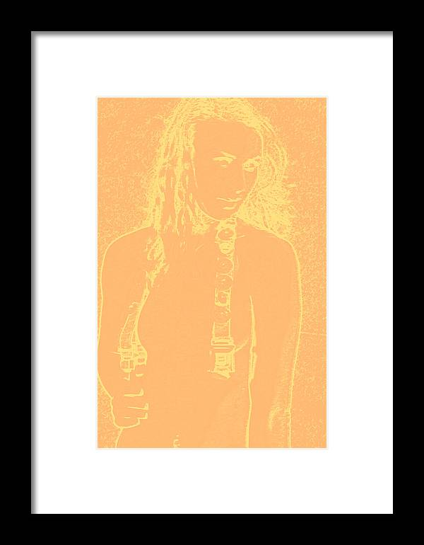 Female Framed Print featuring the digital art Yellow Hair by Tom Miles