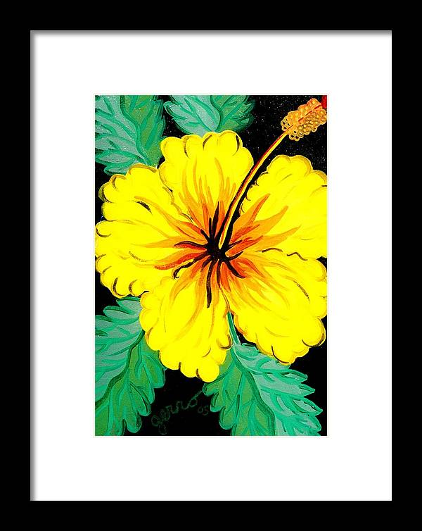 Hibiscus Artwork Framed Print featuring the painting Yellow Hibiscus by Helen Gerro