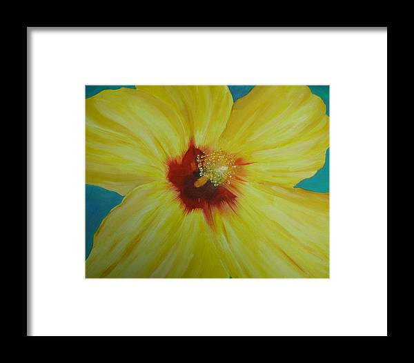 Flower Framed Print featuring the print Yellow Hibiscus by Melinda Etzold