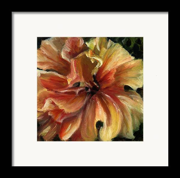 Yellow Hibiscus Floral Framed Print featuring the painting Yellow Hibiscus by Patricia Halstead