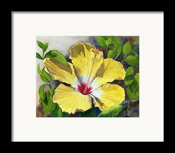 Floral Framed Print featuring the painting Yellow Hibiscus by Robert Thomaston