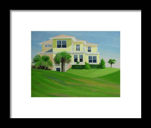 House Framed Print featuring the painting Yellow House by Robert Rohrich