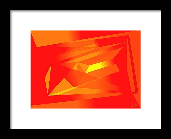Red Framed Print featuring the digital art Yellow In Red by Helmut Rottler