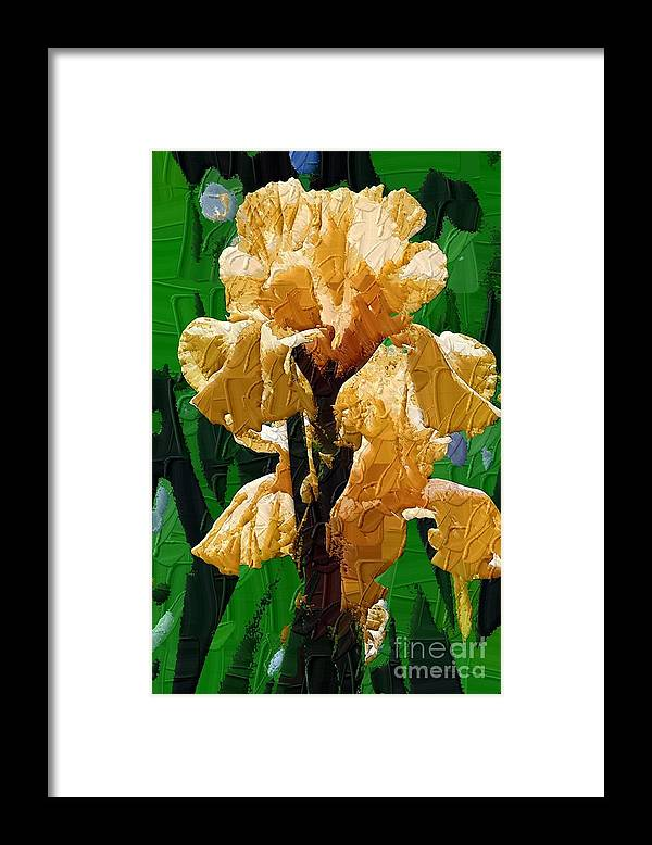 Diane Berry Framed Print featuring the painting Yellow Iris by Diane E Berry