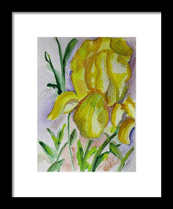 Floral Framed Print featuring the painting Yellow Iris by Kathy Mitchell