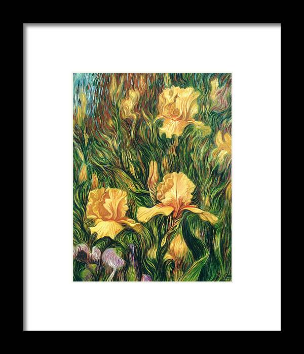 Iris Framed Print featuring the painting Yellow Irises by Hans Droog
