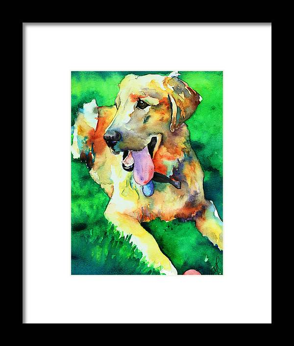 Yellow Lab Framed Print featuring the painting Yellow Labrador by Christy Freeman Stark