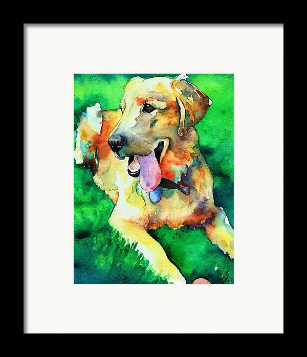 Yellow Lab Framed Print featuring the painting Yellow Labrador by Christy Freeman