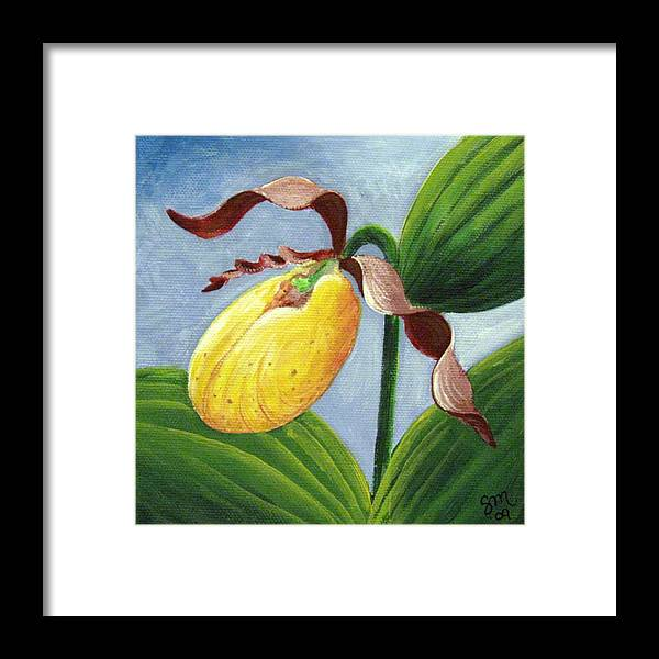 Ladyslipper Framed Print featuring the painting Yellow Lady by Sharon Marcella Marston