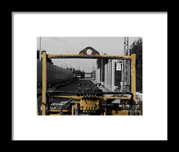 Selective Color Framed Print featuring the photograph Yellow Machine by Elisabeth Lucas