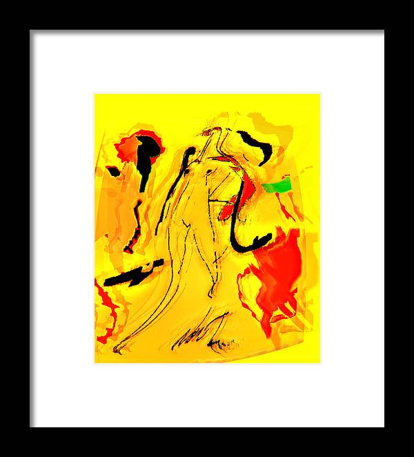 Abstration Framed Print featuring the digital art Yellow by Noredin Morgan