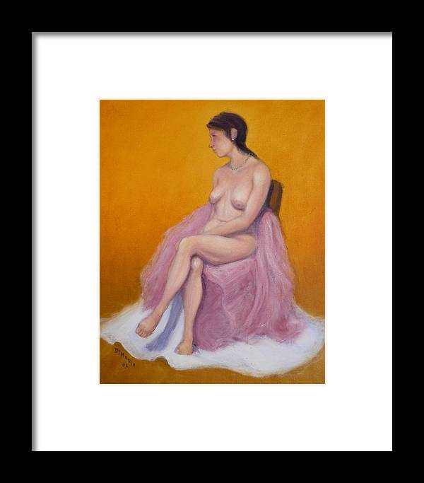 Realism Framed Print featuring the painting Yellow Nude 1 by Donelli DiMaria
