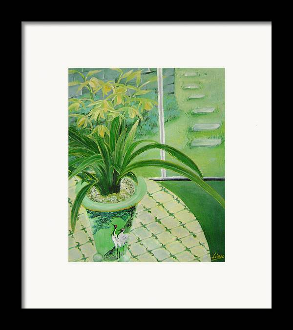 Floral Framed Print featuring the painting Yellow Orchids by Lian Zhen