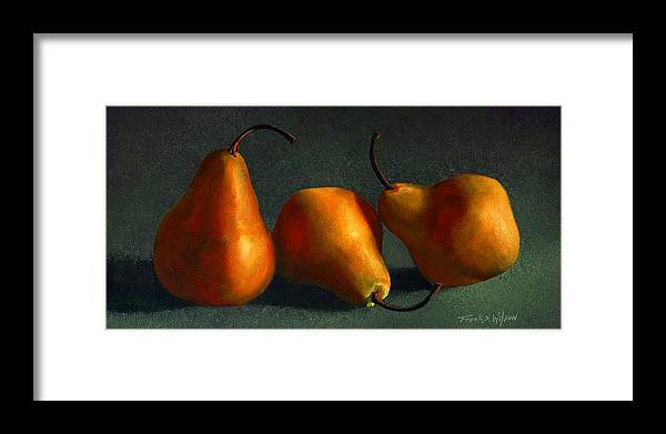 Still Life Framed Print featuring the painting Yellow Pears by Frank Wilson