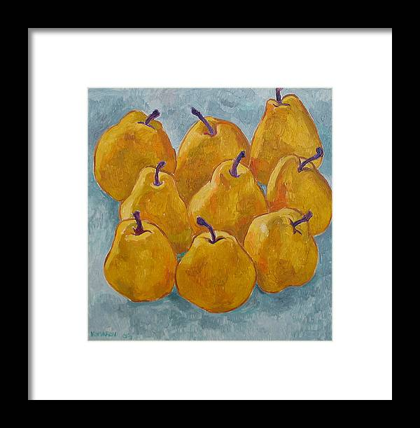 Pears Framed Print featuring the painting Yellow Pears by Vitali Komarov