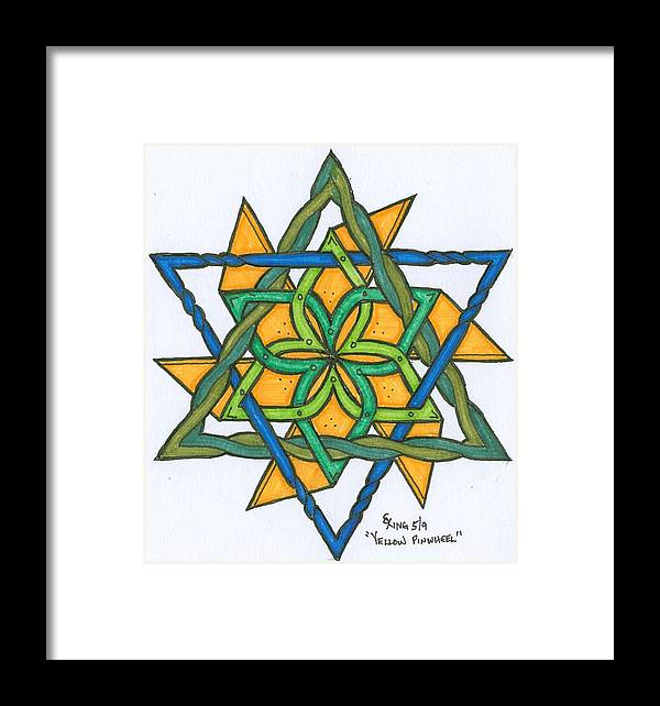 Abstract Colorful Ink Drawing Framed Print featuring the painting Yellow Pinnwheel by Scott King