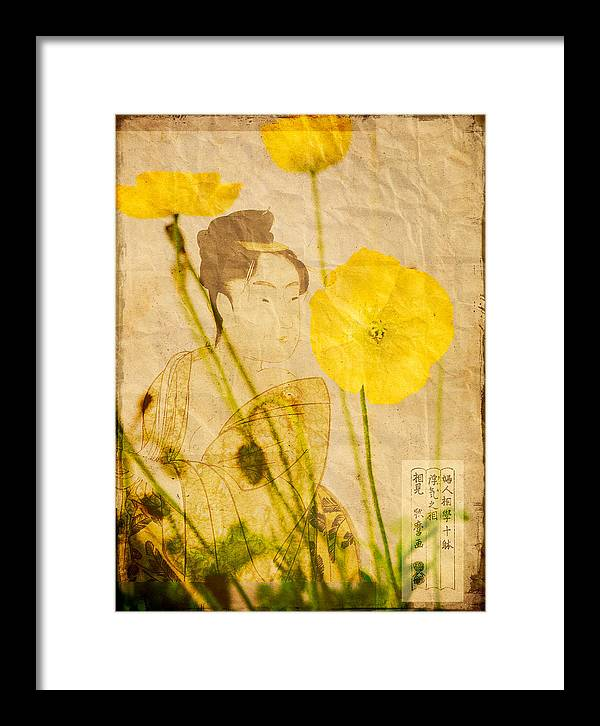 Close Up Framed Print featuring the digital art Yellow Poppies by Wesley Phillips