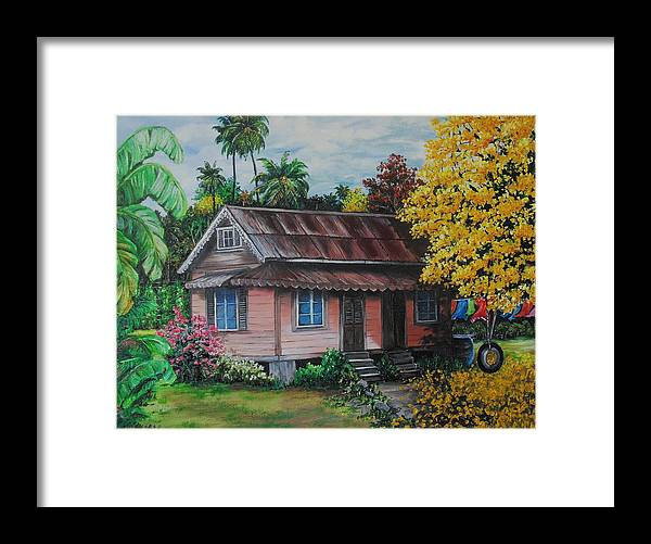 Old House Framed Print featuring the painting Yellow Poui Time by Karin Dawn Kelshall- Best