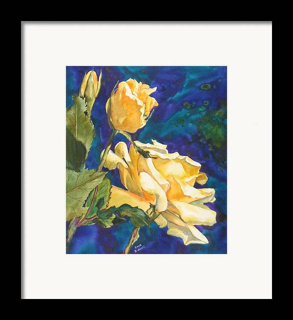 Framed Print featuring the painting Yellow Rose After Texas by Diane Ziemski