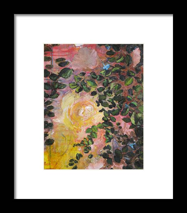Nature Framed Print featuring the painting Yellow Rose by Alicia Kroll