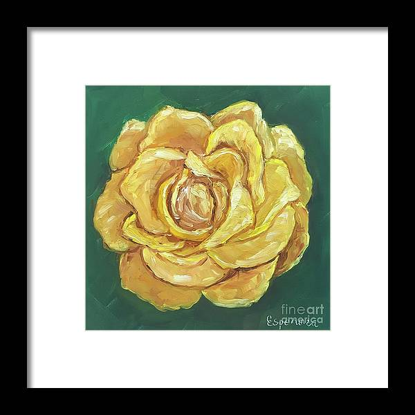 Yellow Rose Framed Print featuring the painting Yellow Rose by Esperanza Arato