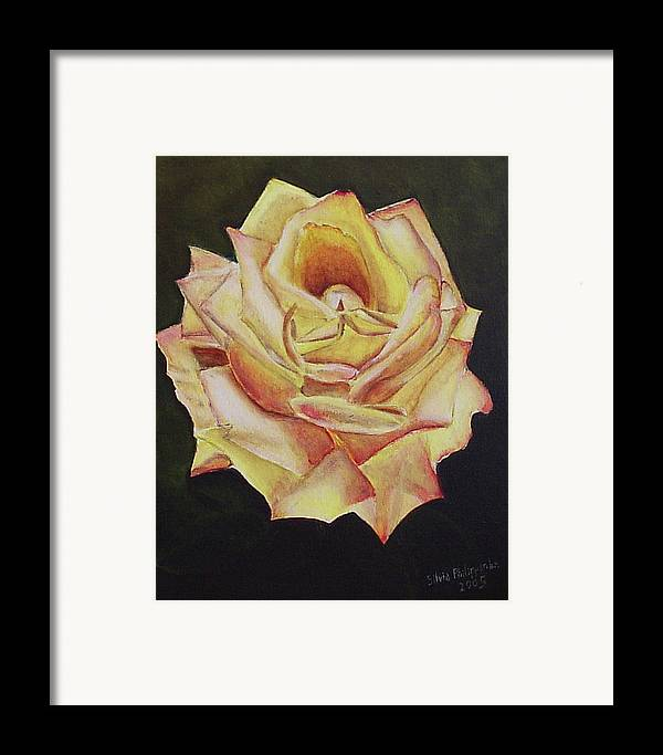 Rose Framed Print featuring the painting Yellow Rose by Silvia Philippsohn