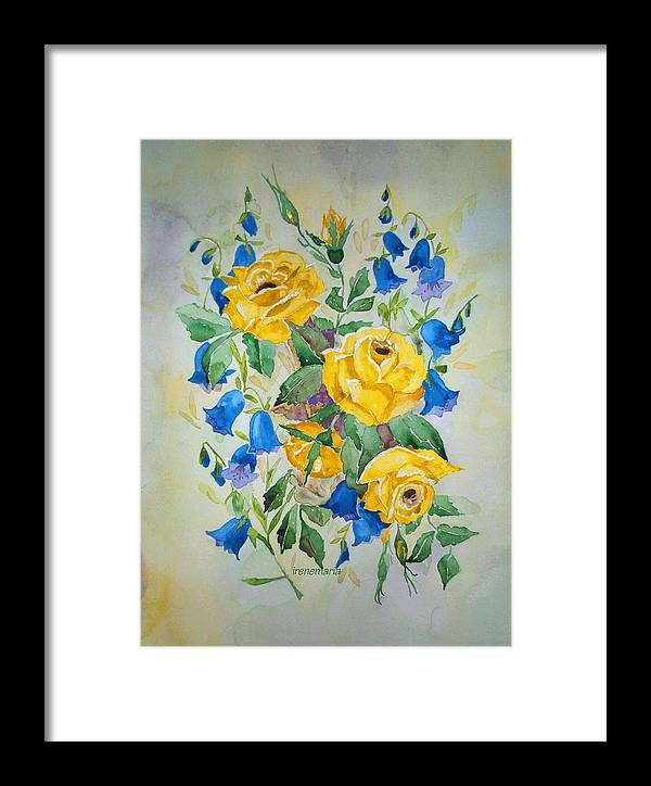 Roses Flowers Framed Print featuring the painting Yellow Roses And Blue Bells by Irenemaria