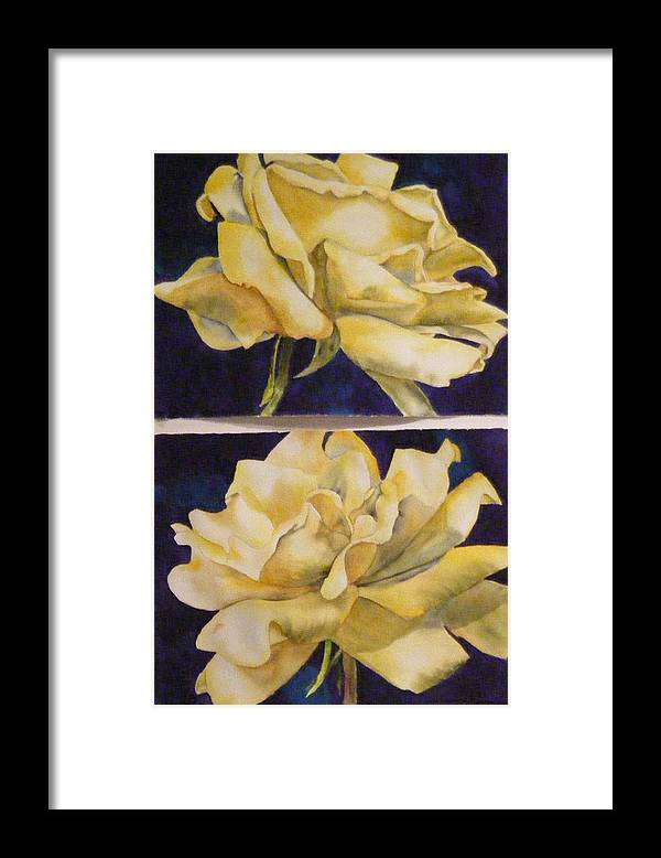 Roses Framed Print featuring the painting Yellow Roses Diptych by Diane Ziemski