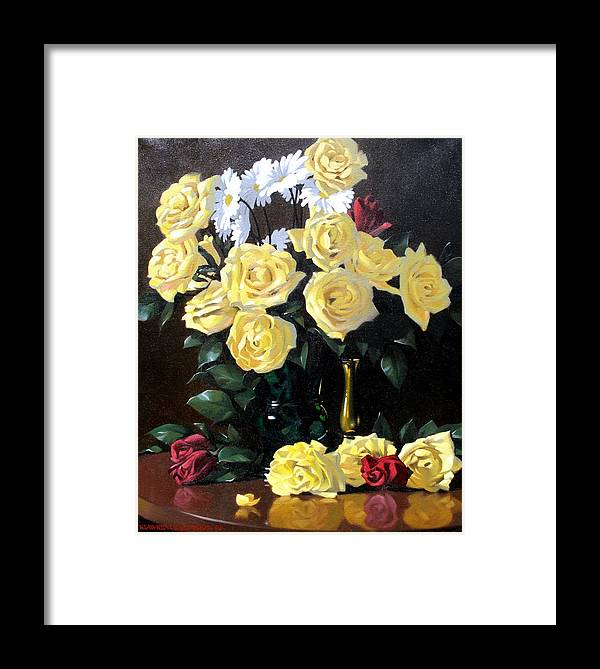 Roses Framed Print featuring the painting Yellow Roses by Kevin Lawrence Leveque