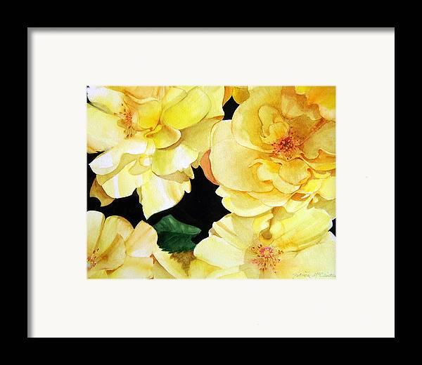 Floral Roses Framed Print featuring the painting Yellow Roses by Patrick McClintock