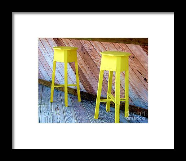 Yellow Framed Print featuring the photograph Yellow Stools by Debbi Granruth