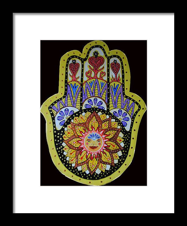 Yellow Hamsa Framed Print featuring the painting Yellow Sun by Patricia Arroyo