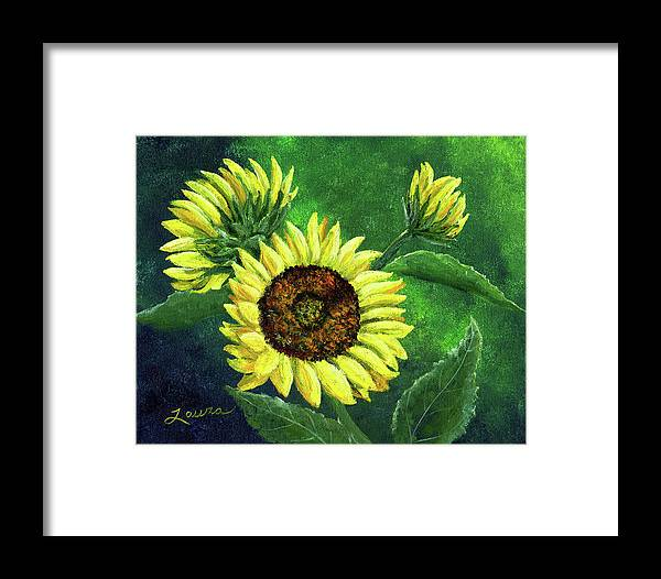 Sunflower Framed Print featuring the painting Yellow Sunflowers On Green by Laura Iverson