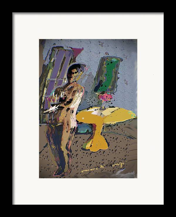 Nude Framed Print featuring the painting Yellow Table II by Noredin Morgan