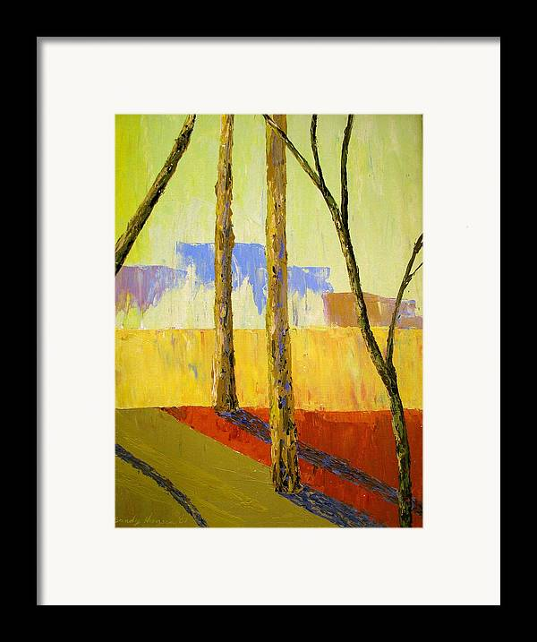 India Framed Print featuring the painting Yellow Trees by Art Nomad Sandra Hansen