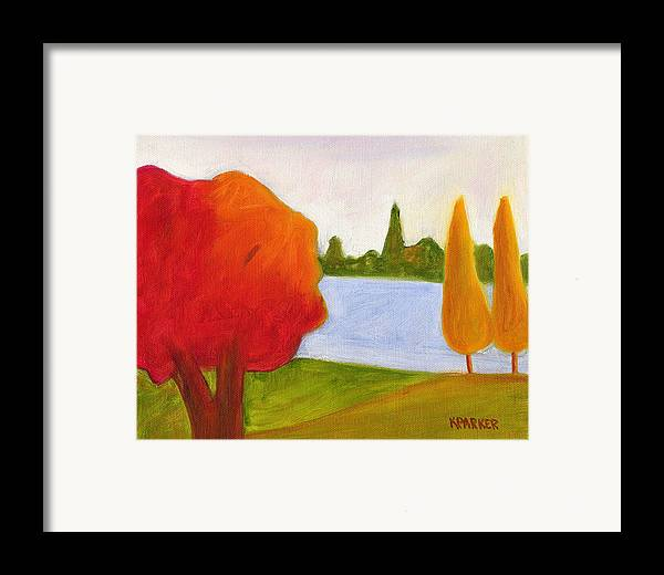 Landscape Framed Print featuring the painting Yellow Trees by Kelly Parker