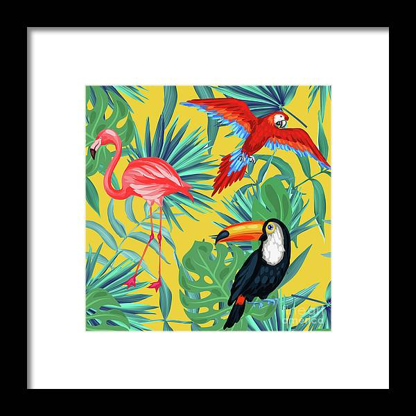 Parrot Framed Print featuring the digital art Yellow Tropic by Mark Ashkenazi
