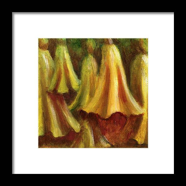 Oil Painting Framed Print featuring the painting Yellow Trumpet Flowers by Patricia Halstead