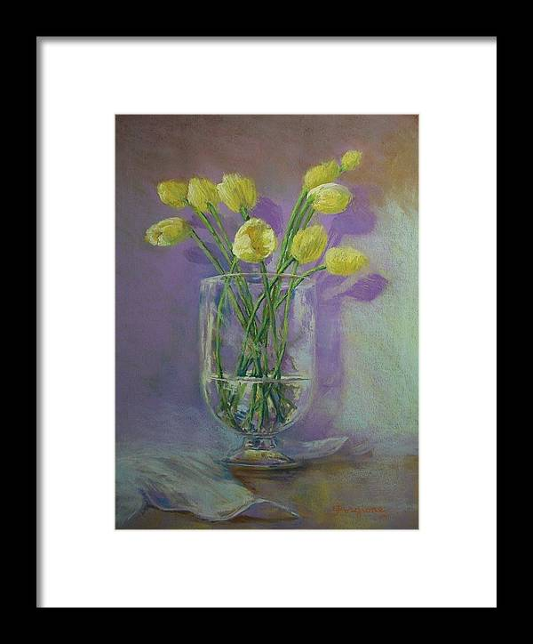 Pastels Framed Print featuring the pastel Yellow Tulips In A Glass by Tom Forgione