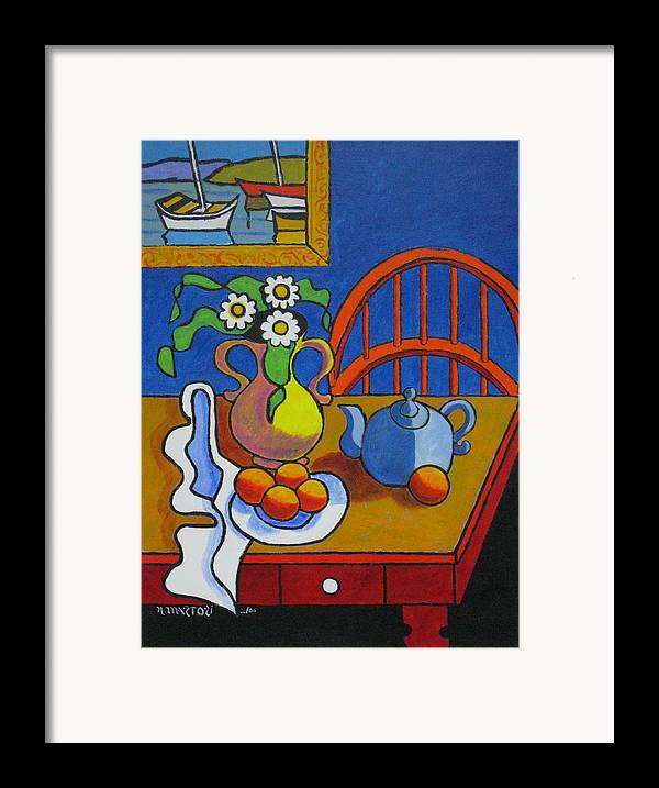 Teapot Framed Print featuring the painting Yellow Vase With Blue Teapot by Nicholas Martori