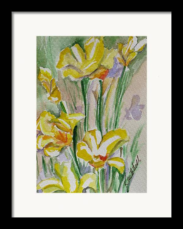 Floral Framed Print featuring the painting Yellow Wild Flowers I by Kathy Mitchell