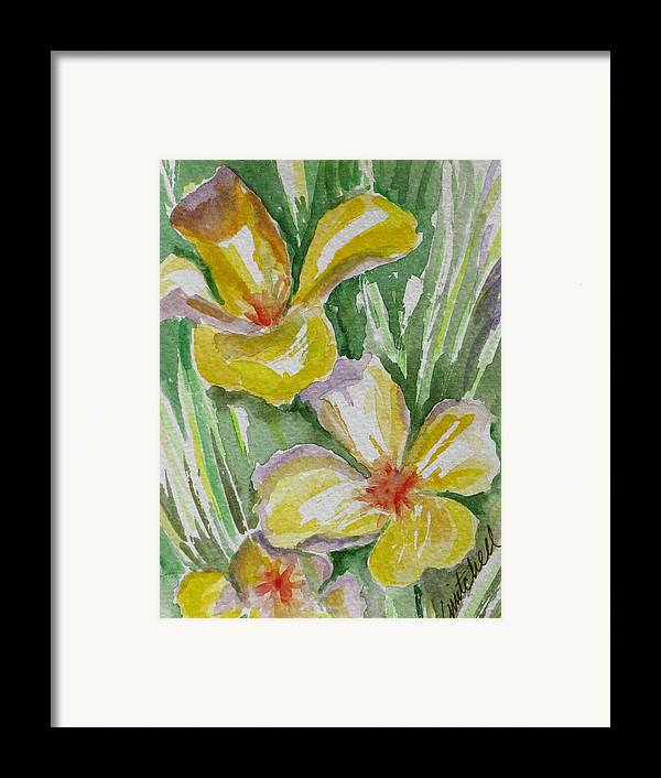 Floral Framed Print featuring the painting Yellow Wild Flowers II by Kathy Mitchell
